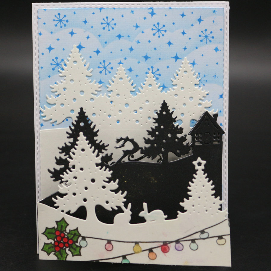 Where To Cut Christmas Trees: 3pcs Christmas Trees Metal Cutting Dies House Scrapbooking