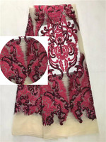New African Lace Designs Nigeria High Quality French Lace Fabric Luxury Sequins Tulle Net Lace Fabric