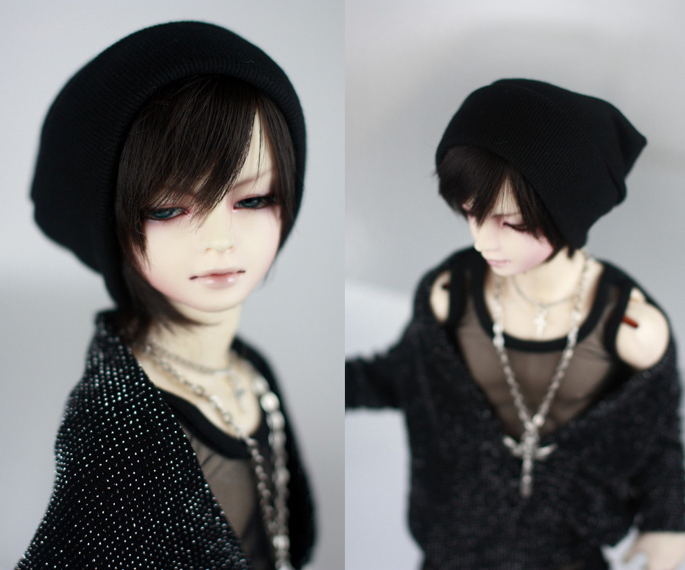 Fashion Black Thread knitted Cap Hat For BJD 1/6 YOSD,1/4 MSD,1/3,SD17, Uncle Doll Clothes Accessories fashion black turtleneck sweater for bjd 1 3 sd17 uncle doll clothes accessories