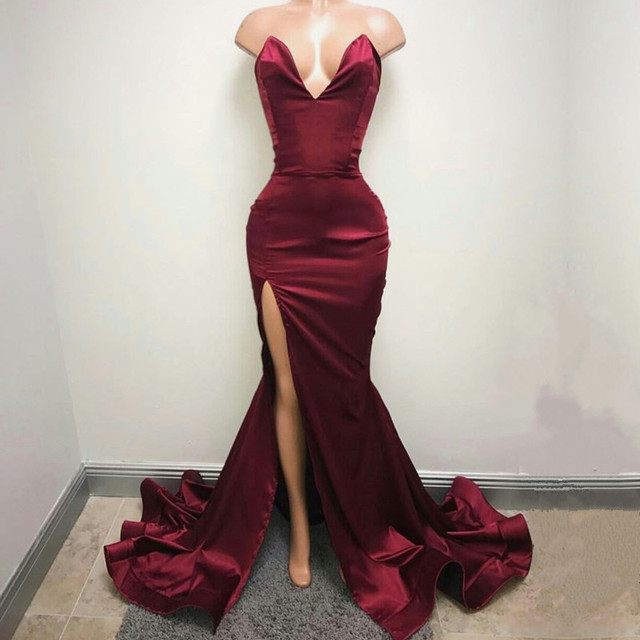 Deep V Neck Leg Slit Long Satin Burgundy Prom Mermaid Dresses 2017 Sexy Evening Gowns
