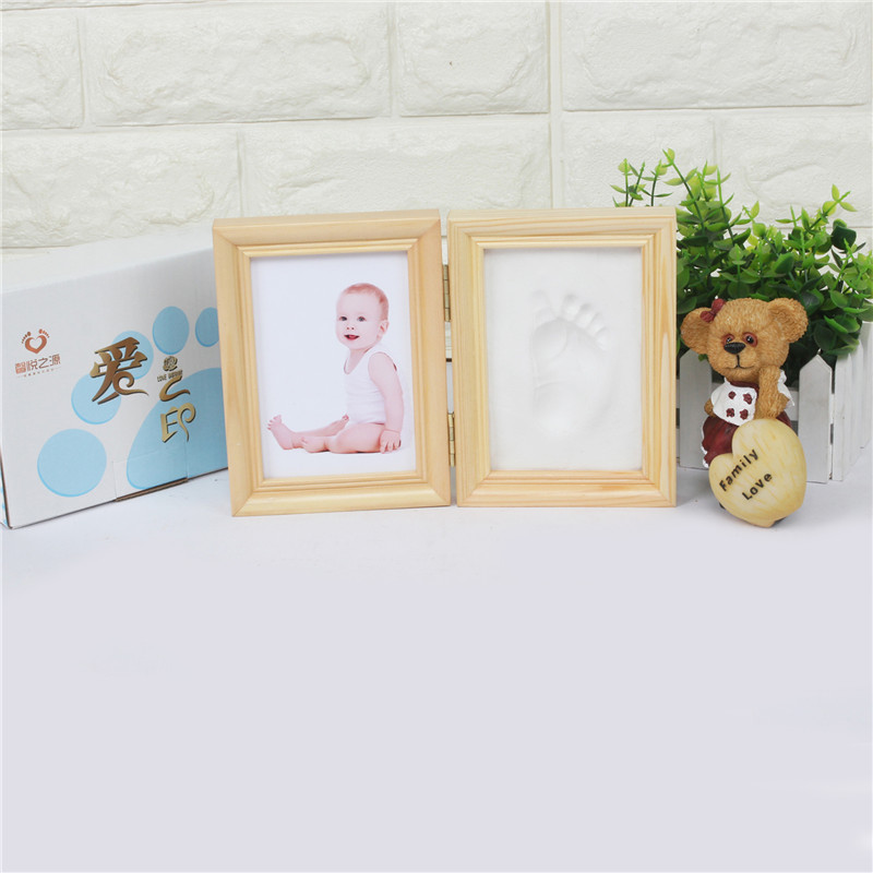 Baby Holz Bilderrahmen DIY Handabdruck Mit Weichen Ton Sicher ...