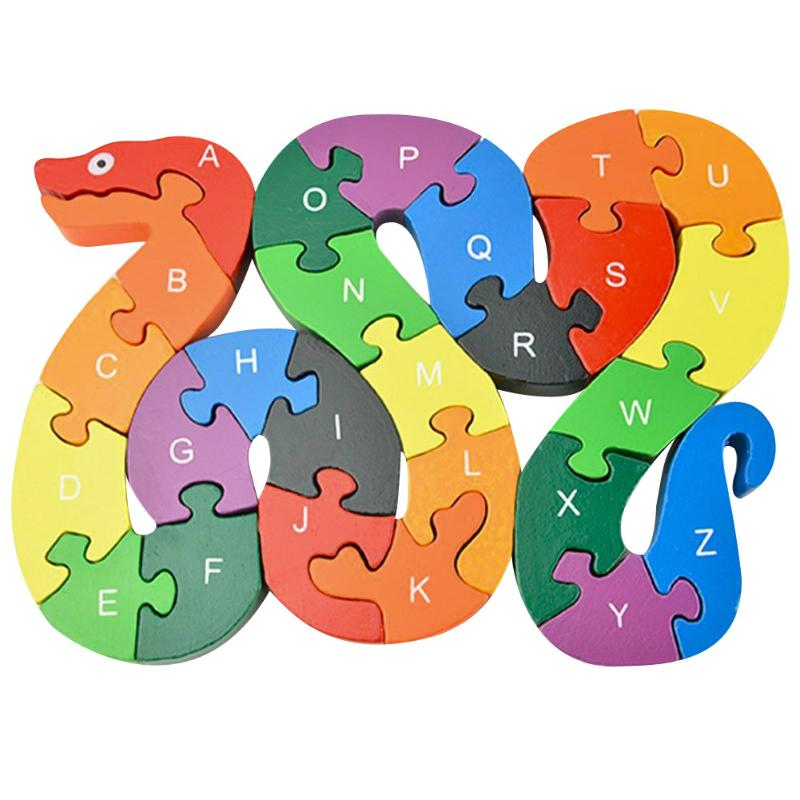 цена Kids Wooden Puzzle Toys Children Learning Toys Puzzle Letters Alphanumeric Lovely Snake Shape Wooden Puzzle Educational Toy