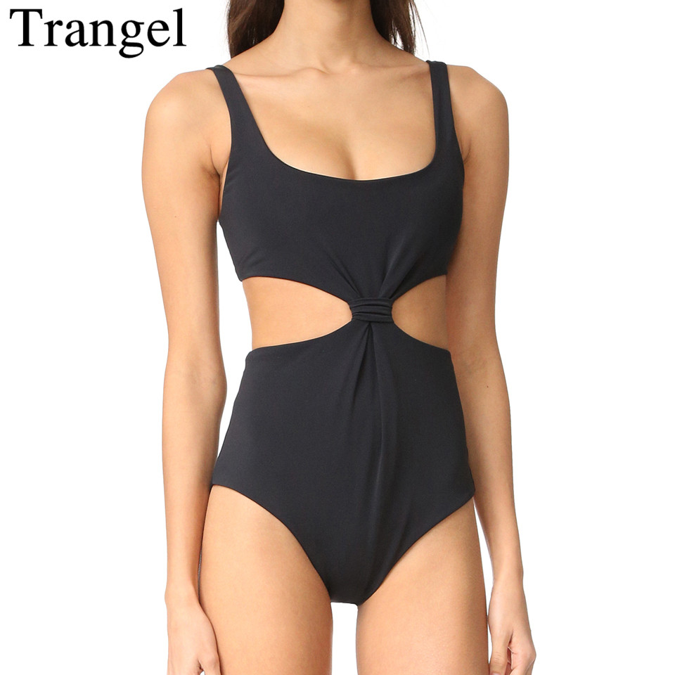 Trangel sexy one piece suit for women black solid color swimwear cut out swimsuit women bodysuit beach bathing suit fashionable strappy printed cut out one piece swimsuit for women