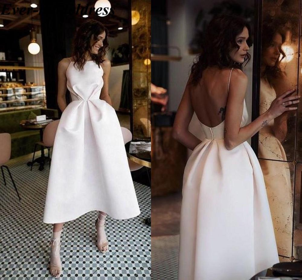 2020 Trendy Tea Length Bridesmaid Dresses Spaghetti Backless Short Simple Garden Country Wedding Guest Gowns Maid Of Honor Dress