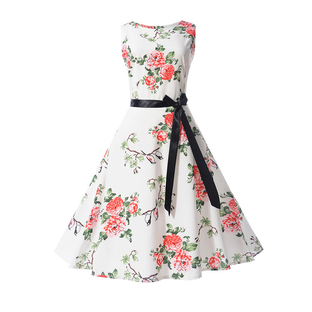 bb2265c978 Robe Femme ete 2019 Summer Dress Women Fashion Floral Print Casual Pin up  Vintage Dresses 50s 60s Rockabilly Party Vestidos