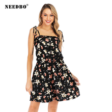 NEEDBO Summer Dresses Casual Backless Dress Women Print Spaghetti Strap Sexy Party Woman Dress Off Shoulder Midi Dresses Vestido fashion 2016 summer dress party dresses women print corset vintage spaghetti strap full dress suspenders dress woman s gown