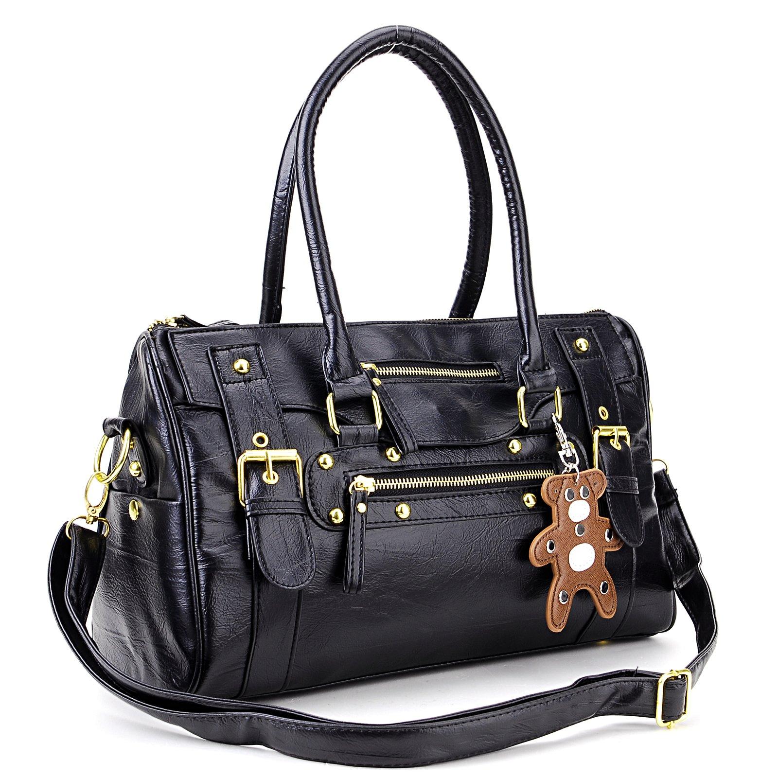 Black hand hold PU leather rock scratch with a small bear Handbag for women