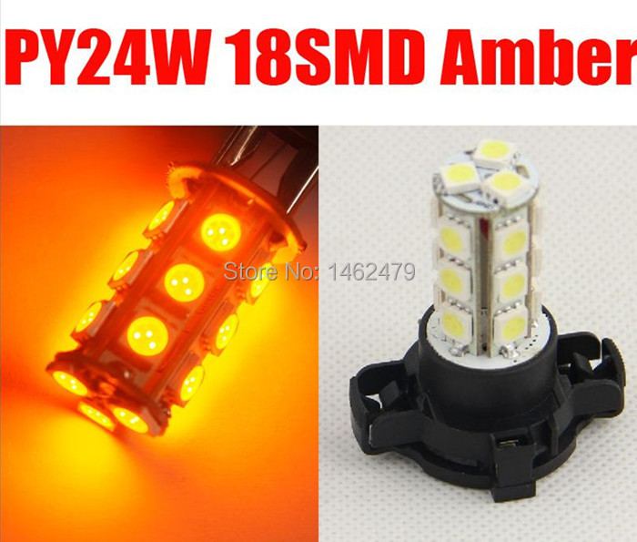 2 x PY24W White Amber Yellow LED Bulb Front Turn Signal Lights For Audi Q5 2009 and up (with HID headllamps)