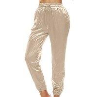 Yumuşak saten kadınlar rahat pantolon tam uzunlukta katı yüksek bel femme kalem pantolon yaz ince yan dikiş cepler İpli pantolon
