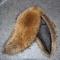 Натуральный мех енота воротник женщин 100 см Рог форма супер черный меховой шарф мужской обычай природный beiger большие воротники человек Шеи теплее