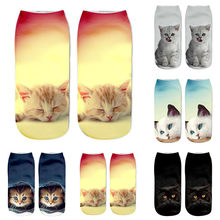 Popular style women socks Funny Unisex Short Socks lovely 3D Cat Printed Ankle Casual short summer Socks calcetines mujer(China)