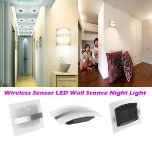 Image 2 - LED veilleuse boîtier en aluminium éclairage à la maison lumineux détecteur de mouvement LED lumières activé sans fil applique murale à piles