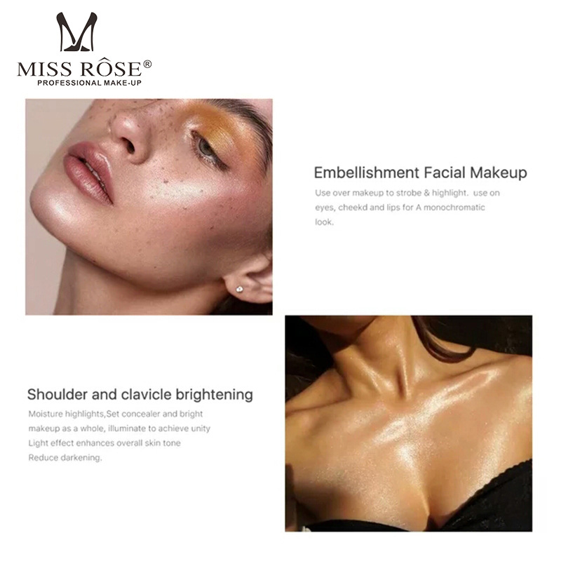 MISS ROSE illuminator Makeup Contour Corrector Glow Liquid Highlighter Brighten Bronzer Face Stereoscopic Profession Highlight