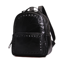 Korean Style Fashion Black Sheepskin Backpack Stylish Patchwork Women Preppy Style Schoolbag Designerb Genuine Leather Daypack