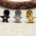 2pcs High Quality Star Stainless Steel Studs Mens boy girl 5 Stars Black Silver Gold rock Earrings Cosplay Stud Earring