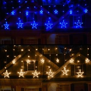Image 5 - 2.5 เมตร LED Christmas Light AC220V EU โรแมนติก Fairy ผ้าม่าน LED String ไฟสำหรับวันหยุดงานแต่งงาน Garland ตกแต่งพรรค