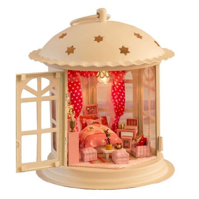 Кукольный дом модель мебель для 3D головоломка деревянные собрать игрушку детская комната украшение голосового управления из светодиодов принцесса деко