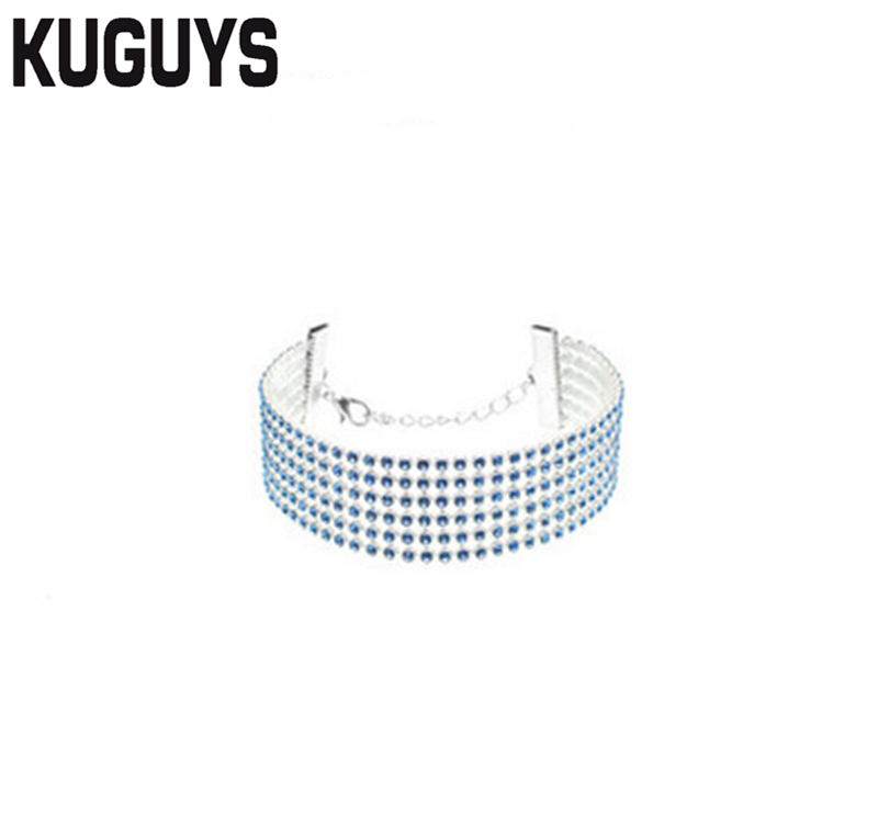 KUGUYS Trendy Jewelry Blue Crystals Chains Strand Bracelets for Women Hollow Out Geometric Wide Fashion Bangle Girl Accessories