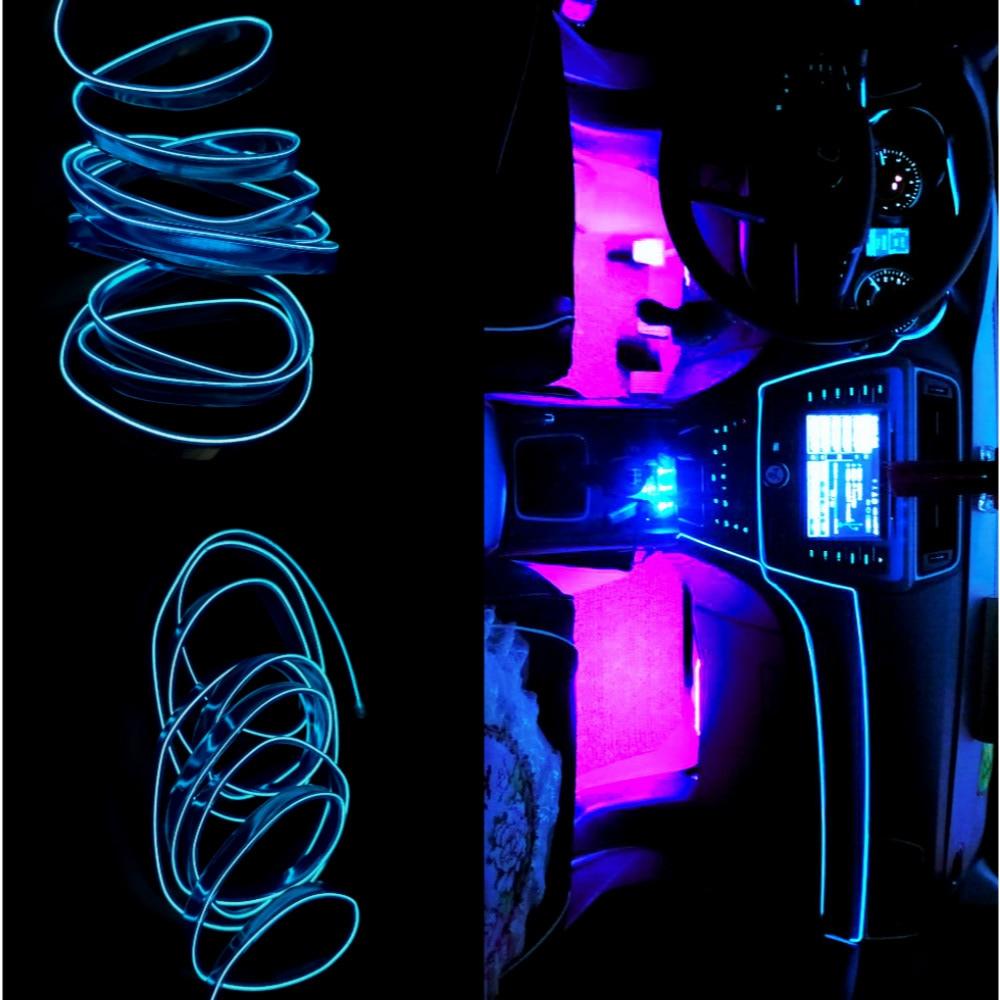 JURUS 1Meter Atmosfēras lukturis Elastīgs Led apgaismojums auto salona apgaismojumam Led Tape El Wire 12V Auto Dekoratīvie Piederumi