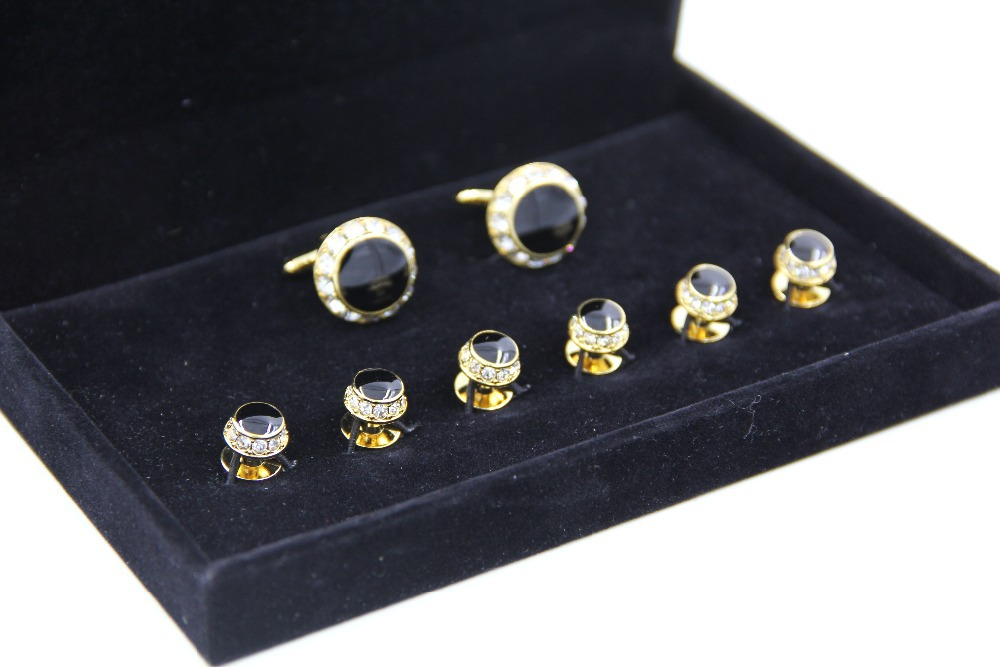 Hot sale gold and rhinestone cufflinks tuxedo stud sets in for Stud sets tuxedo shirts
