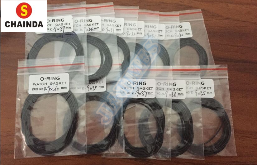 Free Shipping 10pcs High Quality 0.9mm Thick Round Watch Back Case O Ring Size From 30mm To 40mm