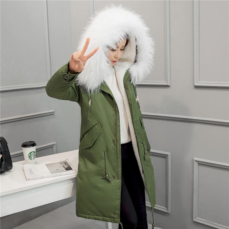 New Women Brands Long Coat 2017 autumn Winter Jacket Large Fur Collar Hooded Thick Warm Wool Liner Fur Coat Parkas Outwear 2017 autumn winter jacket coat women holes denim long jacket real large raccoon fur collar and faux fur thick warm liner