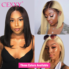 CEXXY 13x6 Lace Front Wig for black women Straight Brazilian blonde Human Hair Wig Short Bob ombre Lace Frontal Wig T1B 613(China)