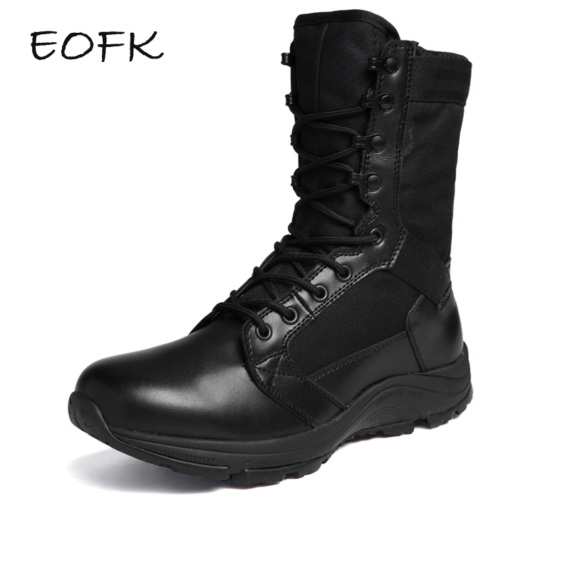 EOFK New Men Boots Fashion Casual Shoes High Quality Lace up Classic Genuine Leather Ankle Brand Design Men's S