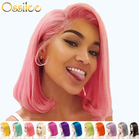 Bob Lace Front Wigs Short Human Hair Wigs 613 Honey Blonde Pink Purple Green Burgundy Yellow Colored Human Hair Wigs Remy