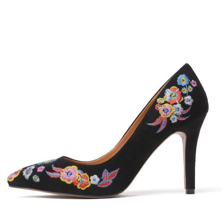 Partie Talons Chaussures Fleurs Haute Aiguilles Chic Glissement De Pompes Suédé Femmes Pointu Bout Luxe Broder Noir Gladiateurs Peu Sur Des Profonde XwSwU