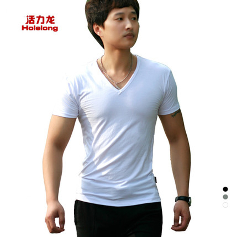 Free-shipping Summer New Fashion V-neck T-shirt mens solid color shirt bamboo fiber shirts HOLELONG brand underware HCD004