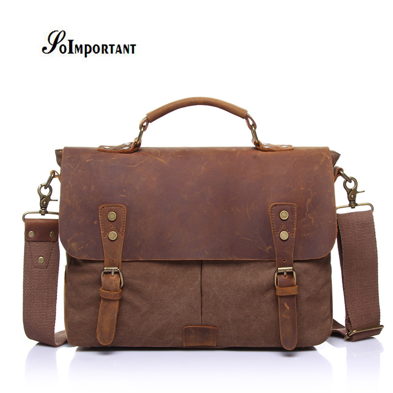 Genuine Leather Oil Wax Canvas Men Bags Male Crazy Horse Handbags Men's Crossbody Messenger Travel Bags Tote Laptop Briefcases usb charged 10 models super fast retractable fully automatic masturbator male masturbation machine sex products