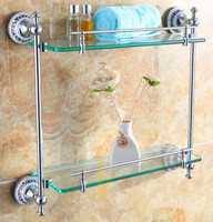 Free shiping Bathroom Accessories Products Solid Brass Chrome Finished Double ceramic Glass shelf DB012K 1