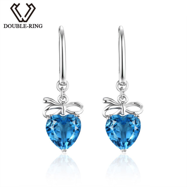 DOUBLE-R Fine Jewelry Bijouterie 925 Sterling Silver Real Blue Topaz Earrings Romanic Heart Drop Earrings Women CASE00767A