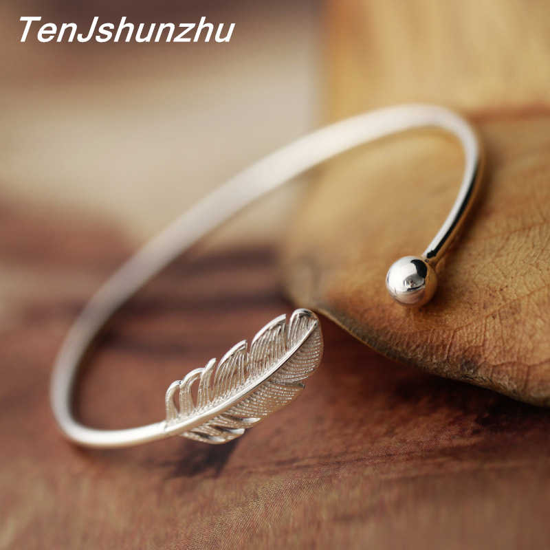 Fashion 925 Sterling Silver Jewelry High-quality Female Simple Feather Open Bangle&Bracelet For Women pulsera de plata