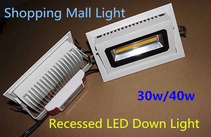1pcs Recessed COB led down light Rectangular Rotary 40W Angle adjustable Focos Commercial Indoor lamp+LED Driver CE 9 24w recessed led horizontal down light with external driver ac100 240v color white 2373lm 18pcs lot promotion free shipping