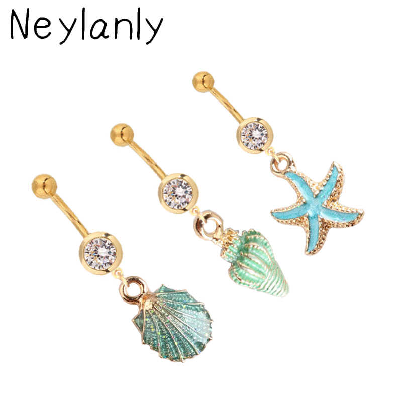 Fashion Summer Gold Shell Belly Ring Bohemian Belly Button Rings Starfish Navel Ring Navel Piercing Jewelry Grilfriend Gift