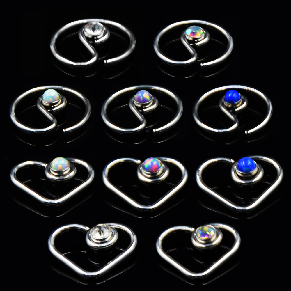 Showlove-1pcs Surgical Steel Opal Gem Daith Heart Round Bendable Ear Tragus Cartilage Earring Ear Studs Ear Ring Piercing 16G