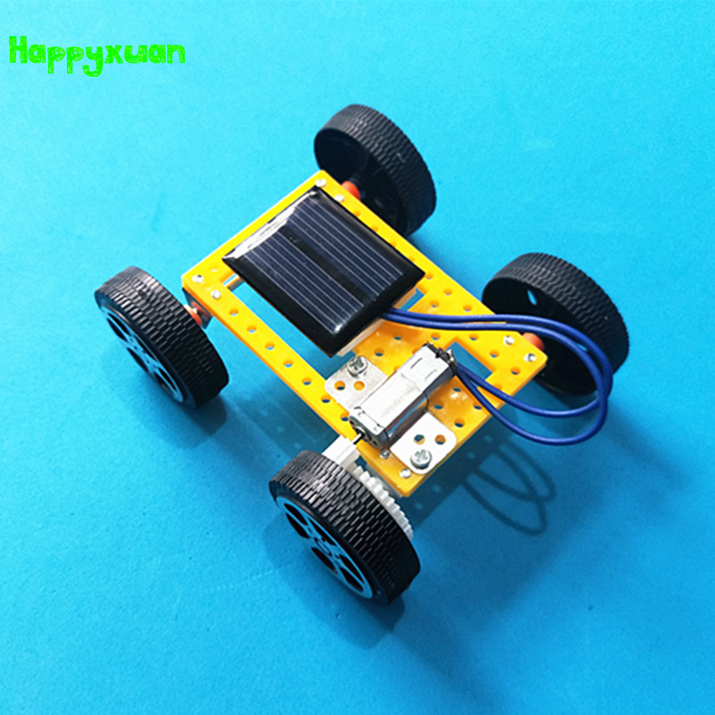 Happyxuan Cool Mini DIY Solar Engery Panel Powered Car Toy Assembly Model Kit Kids Creative Science Experiment Boys 2018 New solar powered magic autonomous mini car toy