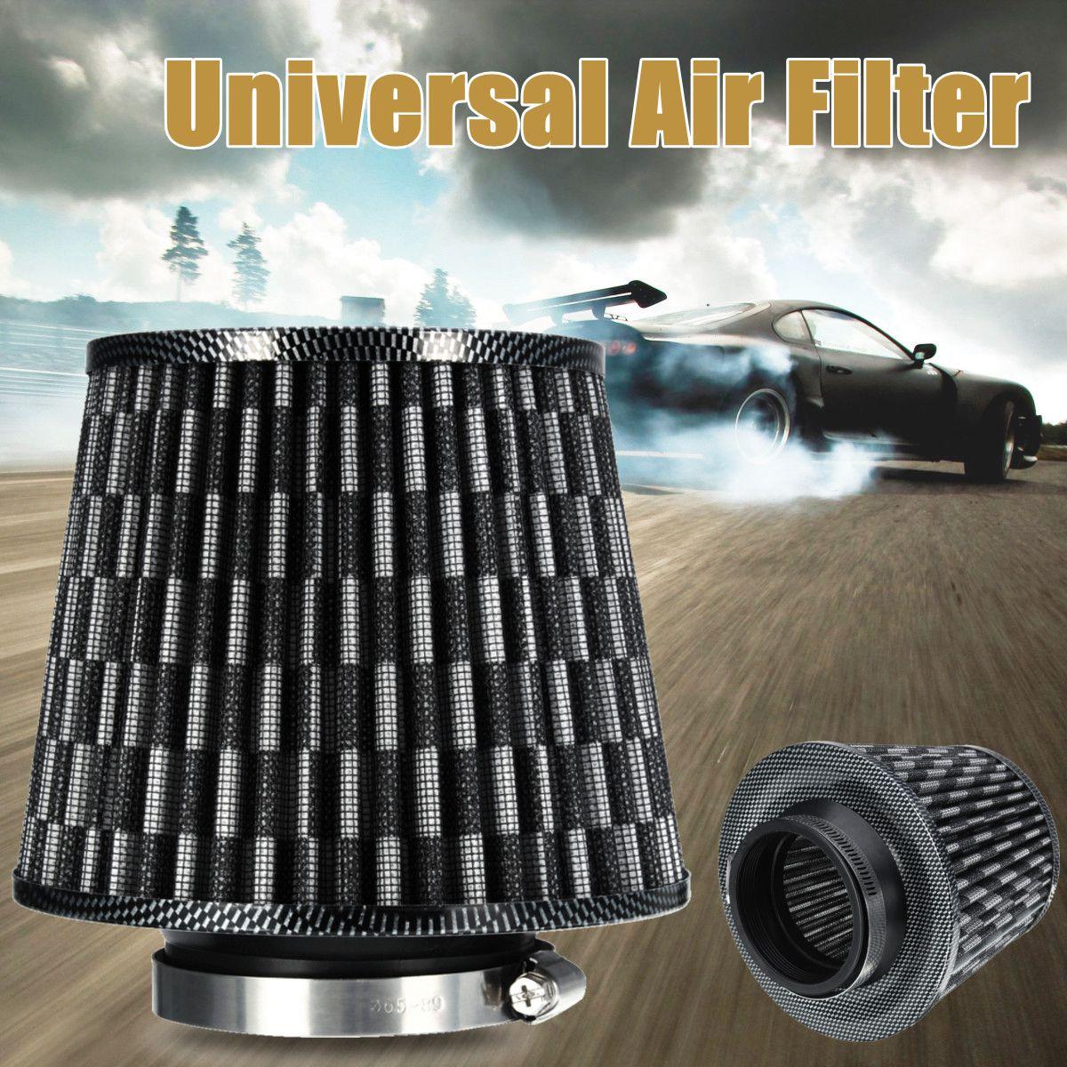 Imparcial Filtro De Aire De Coche Universal 3 76mm Filtro De Aire De Coche Entrada De Alto Flujo Aire Frío Turbo Limpiador De Aire Fibra De Carbono Terminar