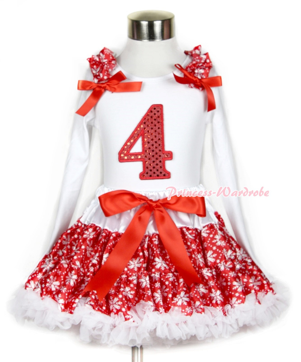 Xmas Red Snowflakes Pettiskirt 4th Sparkle Red Birthday Print White Long Sleeve Top Red Snowflakes Ruffles Red Bow MAMW267 xmas white tank top 2nd sparkle red birthday number with red snowflakes ruffles