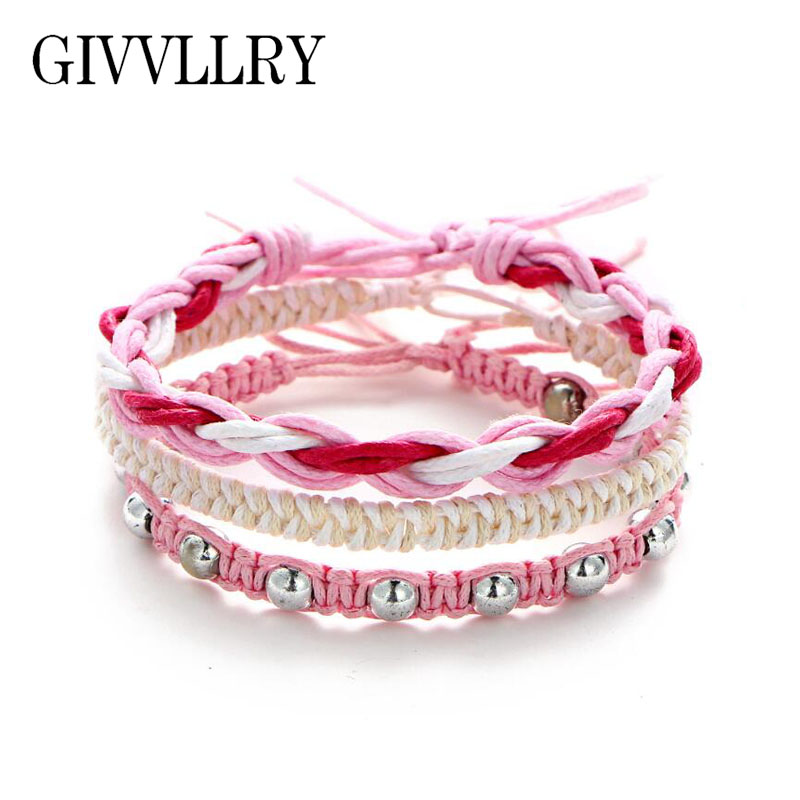 GIVVLLRY Bohemian Pink White Weave Bracelets for Women Ethnic Blue Green Contrast Color Handmade Knitted Multilayer Bracelet Set