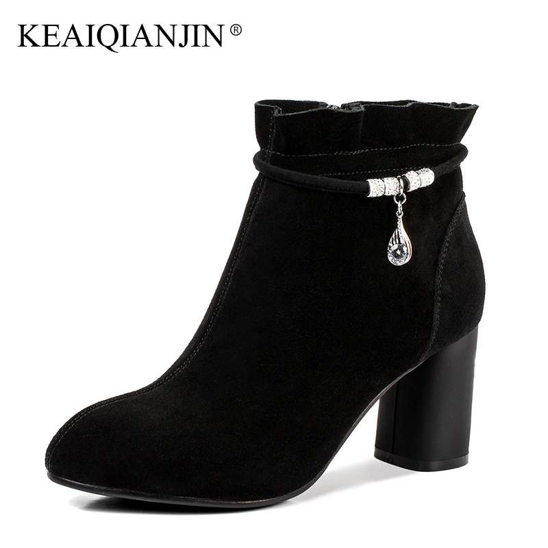 KEAIQIANJIN Woman Crystal Ankle Boots Autumn Winter Black Red High Heels Boots Genuine Leather Plus Size 33 - 42 Ankle Boots women boots plus size 35 43 genuine leather autumn winter ankle boots black wine red shoes woman brand fashion motorcycle boot