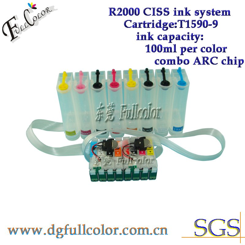Free shiping  new arrival  R2000 ciss ink system with new combo reset chip for T159 ink cartridge ciss free shiping r2400 sublimation ink ciss with transfer ink and arc chip for 8color cis r2400