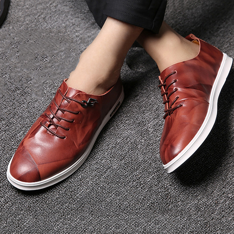 Men flat shoes  2018 new arrivals Spring Autumn high quality breathable Genuine leather Men loafers Shoes size 38-44 2017 spring autumn breathable white wild men casual shoes 100% handmade pigskin leather comfort men shoes high quality size40 44