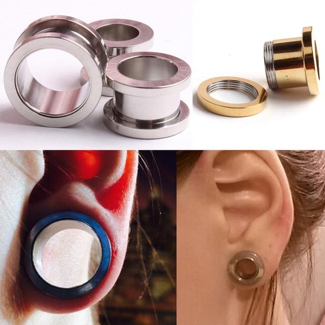 2pcs Stainless Steel Ear Plug Tunnel Stretcher Flesh Gauge Expander Men Women Earrings Plugs