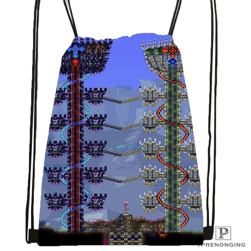 Custom Terraria (5) Drawstring Backpack Bag Cute Daypack Kids Satchel (Black Back) 31x40cm#180531-04-67