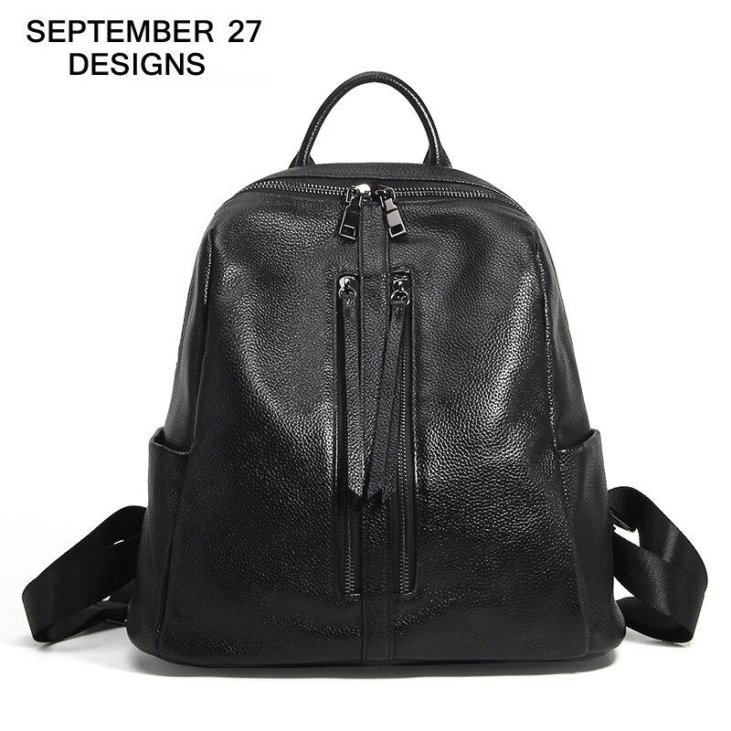 Femmes sacs à dos 100% cuir de vachette véritable haute qualité jeunesse Style Preppy cartable dames fille adolescent voyage sac à dos mochila