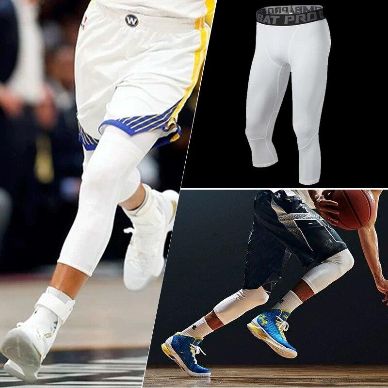 Homens 3/4 Tênis de Corrida de Compressão Calças Justas Calças de Basquete Academia de Musculação Jogger Jogging Skinny Leggings Calças Sportswear