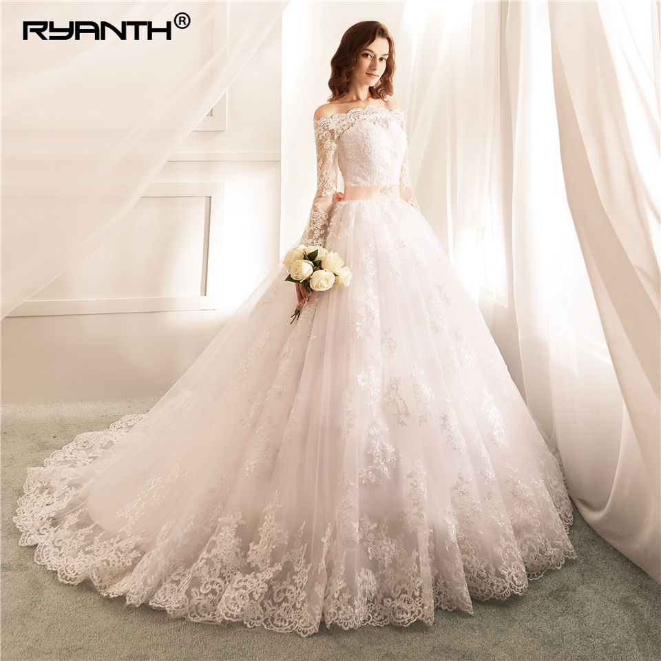 Ryanth Vestido De Noiva Sexy Off the Shoulder Long Sleeves Ball Gown Wedding Dress 2019 New